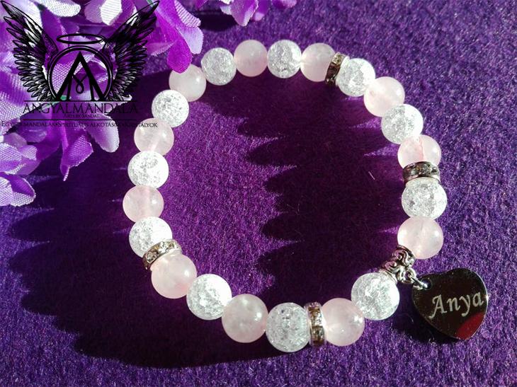 Szeretlek anya mandala kristály -ásványkarkötő (rózsakvarc, r.hegyikristály)