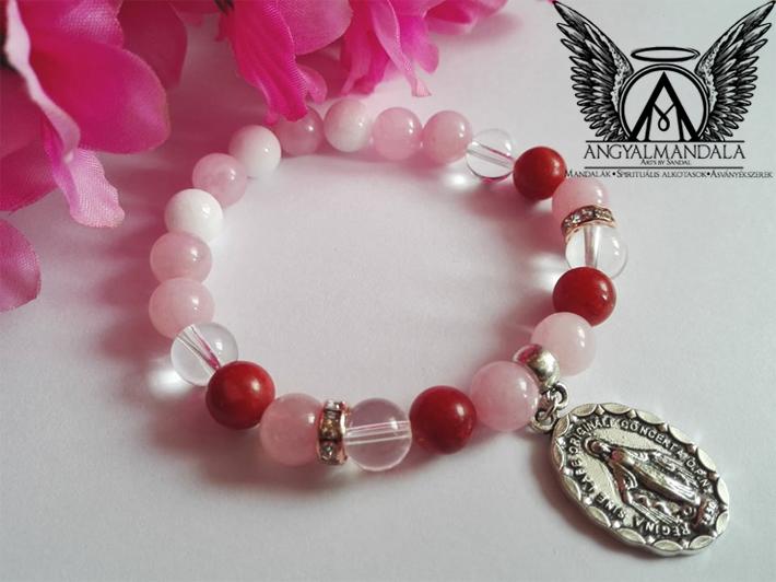 Photo of Határtalan szeretet mandala karkötő (tejkvarc, rózsakvarc, korall, hegyikristály)