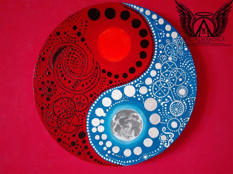 Nap és Hold fénykódok ~ mandala festmény (30 cm)