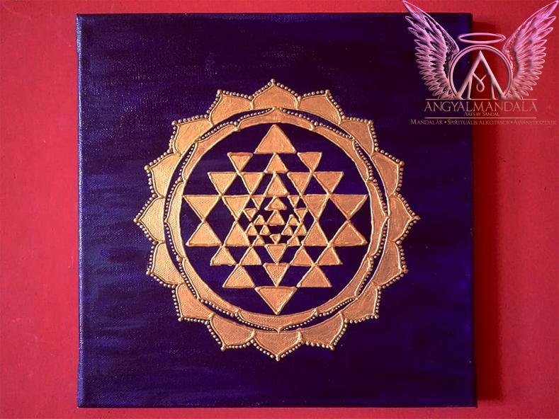 Photo of Sri Yantra (lila/arany) mandala festmény (30 cm)