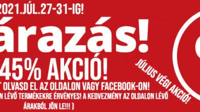 Photo of ŐRŰLT LEÁRAZÁS!!! 5-45% AKCIÓ! (2021.JÚL.27-31-IG)